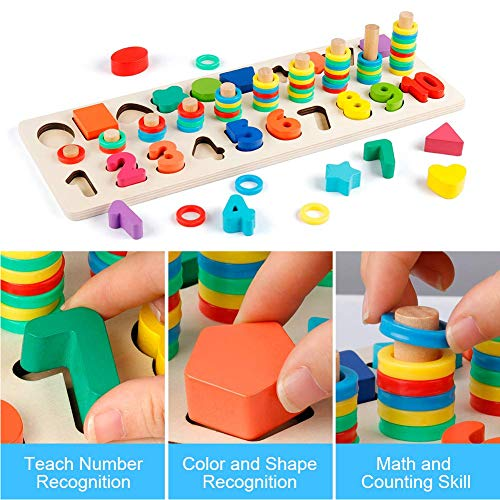 Wooden Math Blocks Sorting Puzzle Board Kids Early Education Shape Sorter Counting Numbers 0 to 10 Ring Stacker Math Stacking Toys Preschool Learning Toys 1set