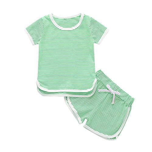 der Baby Mädchen Jungen Streifen Tops T-Shirt Shorts Pyjama Pjs Kleidung Set(Grün,100) ()
