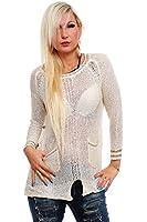10176 Fashion4Young Damen Transparenter Langarm-Pullover Long Pulli verfügbar in 3 Farben Gr. 36/38