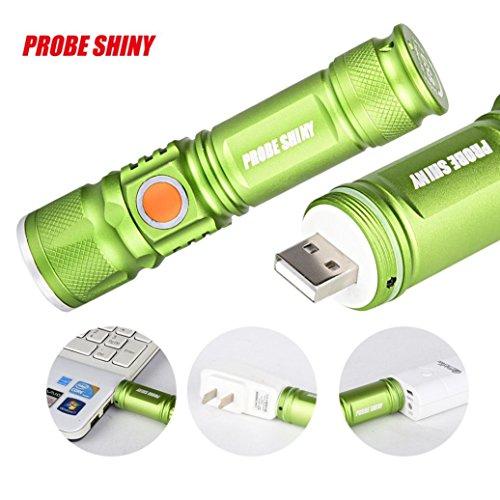 Preisvergleich Produktbild Goodsatar Mini-Taschenlampe 3000LM LED Einstellbarer Focus USB Wiederaufladbare tragbare Taschenlampe Grün
