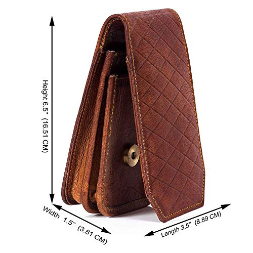 Goatter Brown Leather 5.5″Inch Mobile Cover with Card Wallet