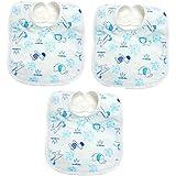 Manan Shopee Waterproof Baby Bib/Soft Baby Bib/Skin Friendly Bib (Color & Print Ship As Per Stock Available- Color & Print May Vary) (Soft Bib Pack Of 3 Blue)