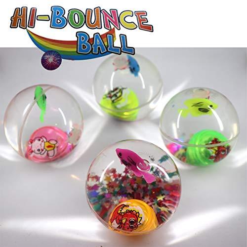 3x LED Flummi Ball Fische Glitter Gummiball Dopsball Groß XL ca.60mm Springball Blinklicht Mitgebsel