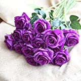 Ouneed® 1 Stücke Blumenstrauß Kunstblumen,1 Stücke Pretty DIY Artificial Silk Fake Flowers Leaf Rose Floral Wedding Home Decor Hot (Lila)