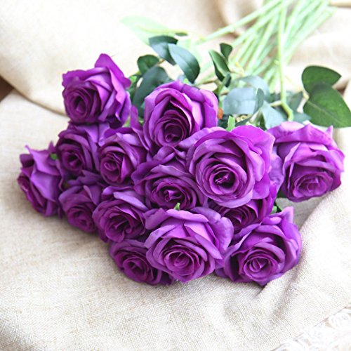 Ouneed® 1 Stücke Blumenstrauß Kunstblumen,1 Stücke Pretty DIY Artificial Silk Fake Flowers Leaf Rose Floral Wedding Home Decor Hot (Lila) (2 Blumen-anzug Stück)