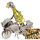 BRUBAKER Portabottiglie da vino regalo - motociclista moto da corsa
