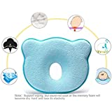 Jinon Baby Pillow, Baby Head Shaping Pillow Memory Foam Pillow For Flat Head Baby Flat Head Syndrome Prevention Baby Pillow For Plagiocephaly (0-12 Months)-Blue