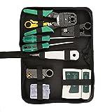 9in 1Netzwerk Repair Tools Sets Profi Netzwerk Repair Kits Netzwerk Crimpzange Kit Computer Wartung LAN-Kabel Tester-Crimper Abisolierzange Kristall Anschlüsse,, Netzwerk Kabel Reparatur Wartung Tool Kit Set