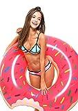 Tante Tina - Schwimmring im angebissener Donut-Style - Aufblasbar - Schwimmreifen - Gelb/Rosa