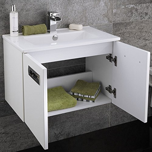 600 Vanity Unit With Basin For Bathroom Ensuite Cloakroom Luxury Wall Mounted Soft Closing
