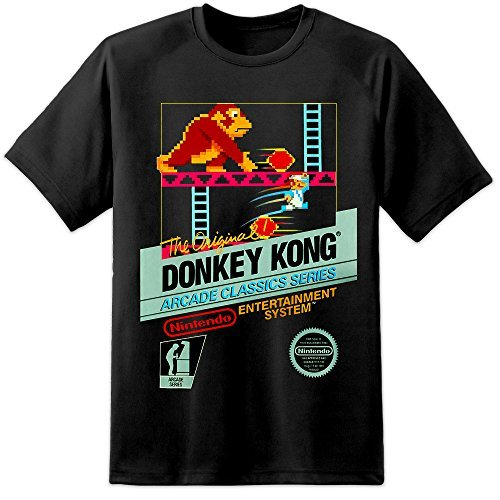 Donkey Kong Nintendo Retro Arcade Gamer T Shirt–Mario Pac Man Space Invaders (S-3X L) negro negro S
