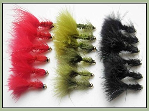 18GOLDHEAD Wooly Bugger Forellenangeln Fliegen–gemischt Farbe, 2Größen, Kunstköder