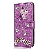 Miagon Hülle Glitzer für Huawei P8 Lite 2017,Luxus Diamant Strass Schmetterling Blume PU Leder Handyhülle Ständer Funktion Schutzhülle Brieftasche Cover,Lila