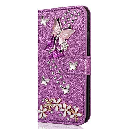 Miagon Hülle Glitzer für Huawei P30,Luxus Diamant Strass Schmetterling Blume PU Leder Handyhülle Ständer Funktion Schutzhülle Brieftasche Cover,Lila