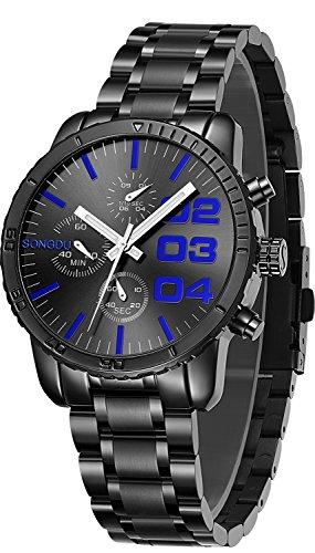SONGDU Herren schwarz Quarz Geschäft Armbanduhr Klassisch Edelstahl mit Multifunktionen Chronograph Analog und Leuchtend Hände (Blau)