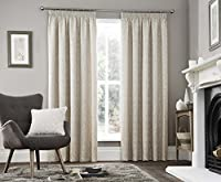 "Trailing Leaves Cream Beige Heavyweight Lined 46"" X 72"" - 117cm X 183cm Pencil Pleat Curtains from Curtains"