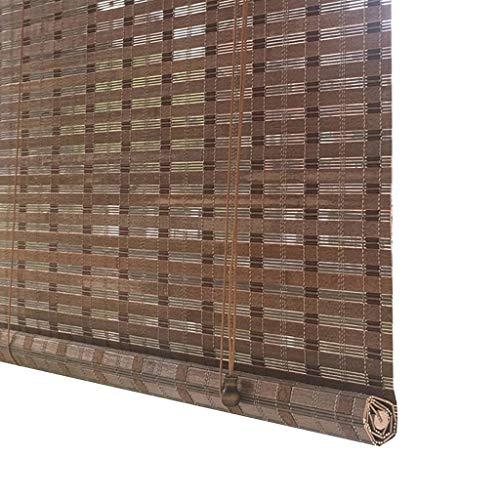 Estores enrollables Persiana Enrollable de bambú para Puerta de Patio, persianas de Rodillo marrón Grandes para protección UV, 90% de apagón, 75cm / 90cm / 110cm / 130cm / 150cm de Ancho