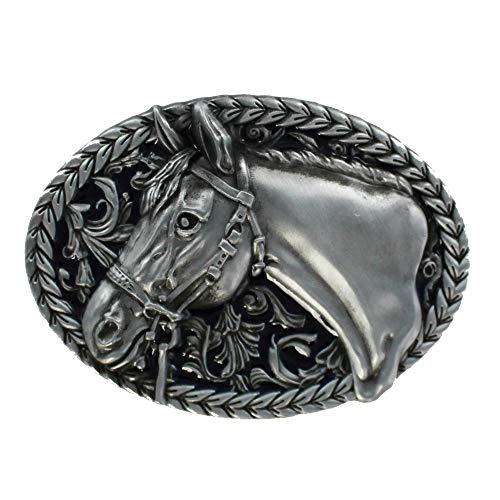 eeddoo® Gürtelschnalle - Pferd (Buckle für Wechselgürtel für Damen und Herren | Belt Frauen Männer Oldschool Rockabilly Metall Gothic Wave Rock Biker Western Trucker Casino Skull)