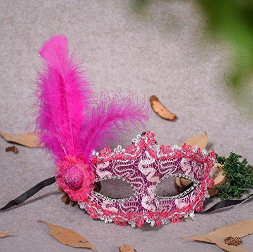 Veewon Mode venezianischen Gesichtsmaske Feder Dekoration Frauen Maskerade Masken für Halloween, Maskerade, Kostüm Party (Rosa Mit Federn Maske Venezianischen Maskerade)