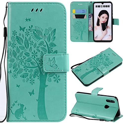Huawei Honor 10 Lite Hülle, Gift_Source [Grün] Schlanke PU Leder Brieftasche Handyhülle Schale Lederhülle Klapphülle Schutzhülle Tasche Etui mit Kartenhalter und Ständer für Huawei Honor 10 Lite 6.21