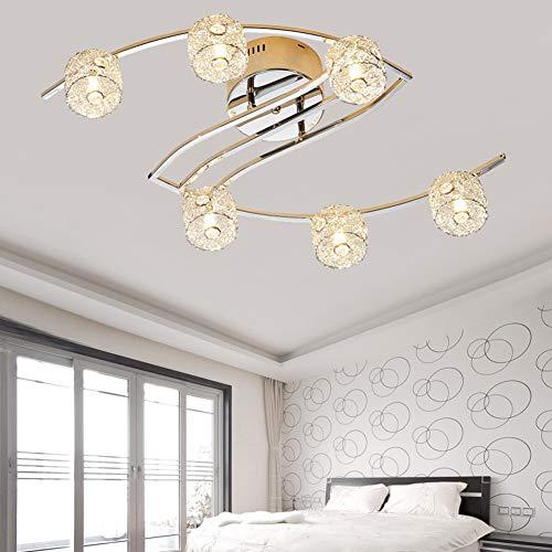 CUICAN Moderner Kristall Deckenlampe,Einfache Kreativ LED Eisen Deckenleuchte Restaurant Schlafzimmer Dekorative leuchten -Warmes Licht 69x40x20cm(27x16x8inch)