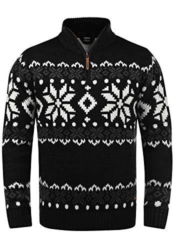 !Solid Norwin Herren Weihnachtspullover Norweger-Pullover Winter Strickpullover Troyer Grobstrick mit Stehkragen, Größe:L, Farbe:Black (9000)