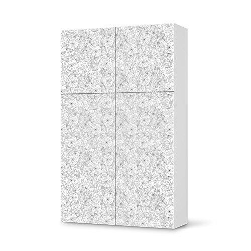Möbelaufkleber für IKEA Besta Schrank Hochkant 4 Türen (2+2) | Möbelfolie Bedruckte Klebe-Folie Möbel verschönern | Schöner Wohnen Wohnzimmer-Möbel Wohn Deko Ideen | Muster Ornament Flower Lines 1