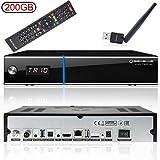 GigaBlue UHD Trio - Ricevitore satellitare 4K, DVB-S2x DVB-C2 DVB-T2, con Disco Rigido da 200 GB, chiavetta WLAN Babotech [2160p,PVR,HDMI, Slot per Scheda SD, Colore: Nero