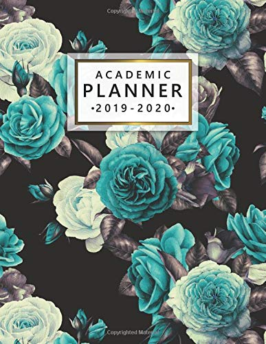 Academic Planner 2019-2020: Weekly Monthly Academic Planner Calendar Organizer with At A Glance Vision Boards, Course Schedule, To-do's, Notes,  Inspirational Quotes - Trendy Blue & White Roses (Collectibles Rose White)