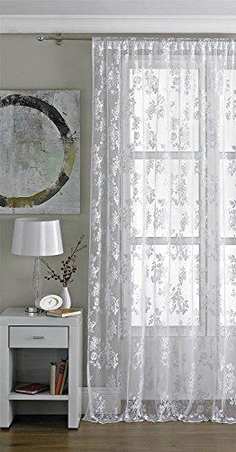 """Vintage Floral Encaje Red cortina de gasa Panel-blanco, Blanco, 56\"""" Wide x 72\"""" Drop (142x183cm)"""