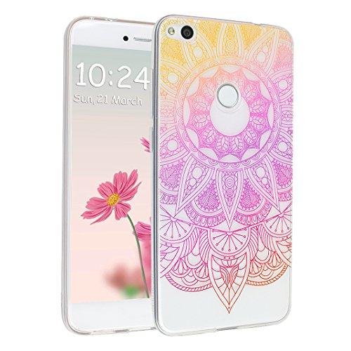 Preisvergleich Produktbild Huawei P8 Lite 2017 Hülle, Asnlove Ultra Dünn TPU Handy Schutzhülle für Huawei Honor 8 Lite Silikon Transparent Weich Handytasche Tasche Schutz Back Cover im Rosa Mandala Muster Design