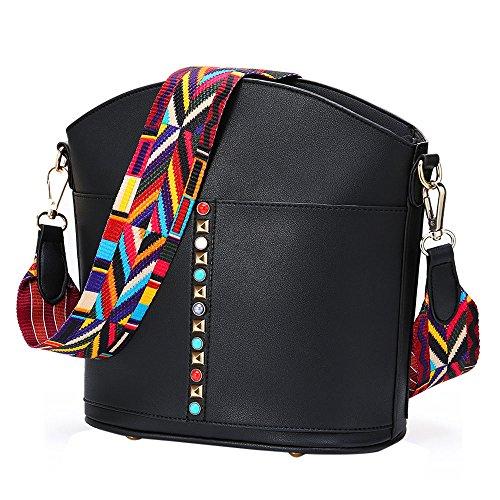 YsinoBear Neue Mode Design Tasche Weites Bunte Strap Schultertasche mit Bunten Nieten (Schwarz) (Tasche Damen Neue Mode)