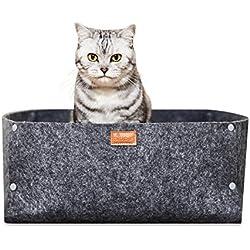 PiuPet® Premium Katzenbett inkl. Kissen | Hochwertiges Katzenbettchen in grau | Passend auch für Kleine Hunde