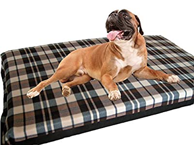 KosiPet Large Deluxe High Density Foam Mattress Waterproof Dog Bed Beds Cream Check Fleece by KosiPet® LG Foam