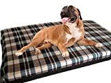 KosiPet® Large Deluxe High Density Foam Mattress Waterproof Dog Bed Beds Cream Check Fleece