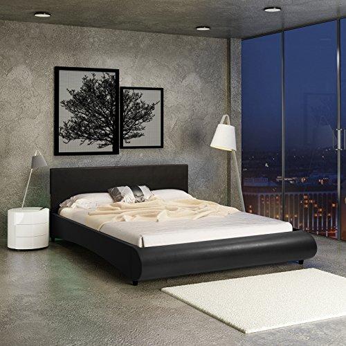 Miadomodo letto matrimoniale moderno in similpelle con rete integrata ca. 180 x 200 colore nero