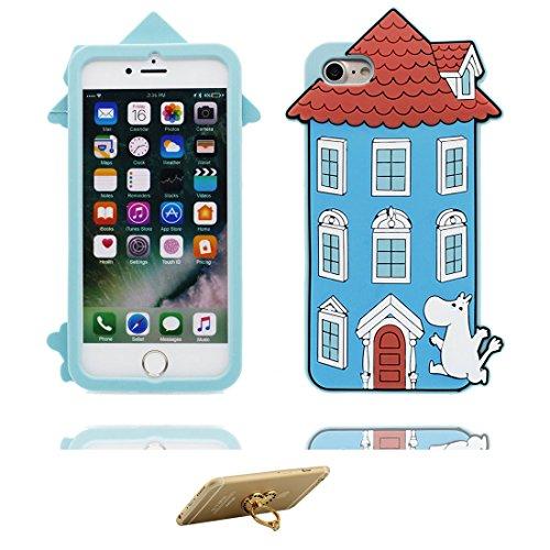 iPhone 7 Plus Custodia, Cover iPhone 7 Plus Copertura 5.5, [Cartoon 3D Strega Ragazza] & ring supporto silicone TPU Shell iPhone 7 Plus Case 5.5 blu
