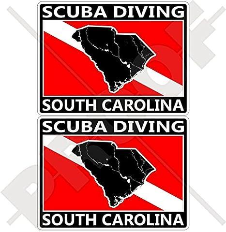 SOUTH CAROLINA SCUBA DIVING Flag-Map Shape USA, America 75mm (3