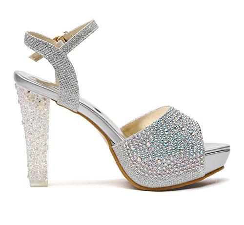 Scothen Talons hauts|fermoirs pratiques Pompes|moulantes talons aiguilles classiques Trendy moulantes chaussures plate-forme sandales parti imperméables chaussures à talons pompes plate-forme Argent