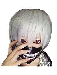 GenialES 36cm Disfraz Cosplay Peluca Plancía Corta Blanco para Halloween Estilo Anime Gintama Gintoki Sakata Tokyo Ghoul + Redecilla de Pelo