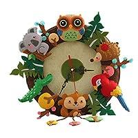 SM SunniMix DIY Felt Craft Material Clock Felt Applique Ornament Kit Home Wall Hanging Decoration - Forest Animals, as described