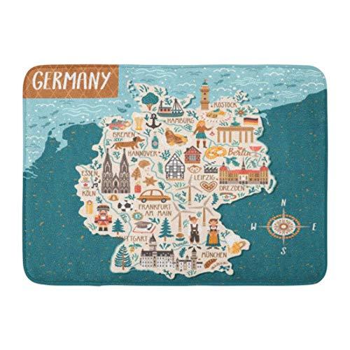 Bath Mat Bavarian Berlin Map of Germany Travel with German Landmarks People Food and Animals Cartography Beer Bathroom Decor Rug 15.7″ x 23.6″/40x60cm