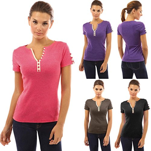 Toamen 2018 New Sexy Women's Casual Solid Button V Neck Short Sleeve Tops Blouse T-Shirt