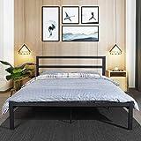 Aingoo Doppelbett Bettrahmen Bettgestell mit Lattenrost für Erwachsene Kinder Kinder Passt für 140 * 190 cm Matratze Schwarz