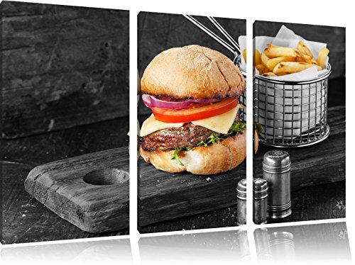 Cheeseburger con 3 pezzi immagine immagine tela 120x80 francese nero / bianco su tela, XXL enormi immagini completamente Pagina con la barella, stampe d'arte sul murale cornice gänstiger come la pittura o un dipinto ad olio, non un manifesto o un banner,