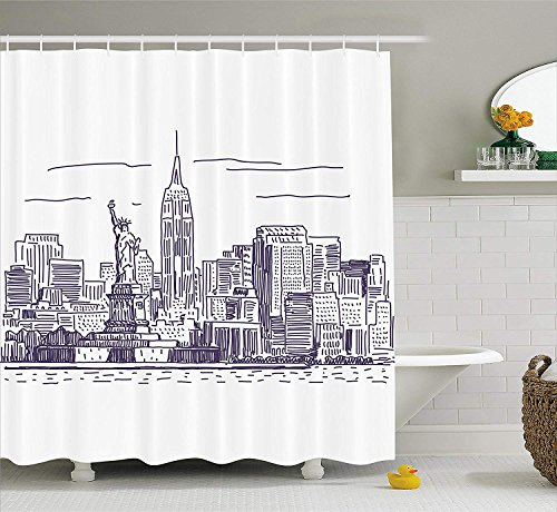 JIEKEIO New York Shower Curtain, Sketchy Simple View of NYC Statue of Liberty Freedom Symbol Ellis Island Print, Fabric Bathroom Decor Set with Hooks,60 * 72inch, Purple White -