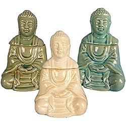 Piccolo brucia essenze olio in ceramica colorata a forma di buddha tailandese