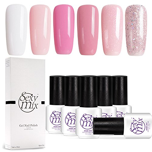 Sexy Mix Gel Nail Polish Pink,UV LED Gel Polish Set, Manicure Varnish Colour Gel 6 Pcs 7ML