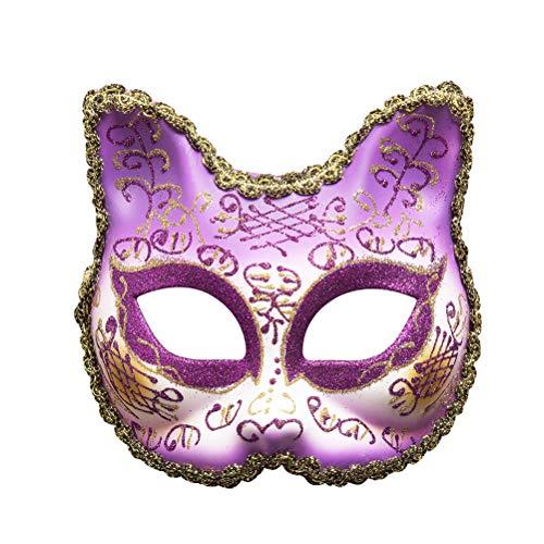 Zhhyltt Party Maske Glanz Katze Maske - Mädchen Spitze Maske für Venezia Masquerade Halloween Geburtstagsparty Kostüm