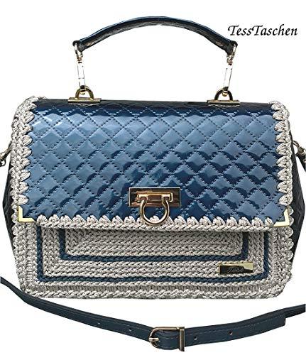 Damen klassische Handtasche Gesteppte lackierte blaue - beige Tasche mit Muster Prägung auf dem Vegan Leder Kleine frauene Aktentasche mit Strap und Verschlüss (Klassische Tasche Gesteppte)